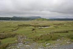 Dwyryd Estuary landscape in Wales. Salt marshes on the River Dwyryd Estuary, Gwynedd in North Wales, UK Royalty Free Stock Image