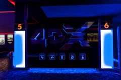 4DX σαλόνι κινηματογράφων στη μέγα λεωφόρο Στοκ Εικόνες