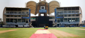 DY Patil Cricket Stadium. A high-res image of the DY Patil Cricket Stadium from during the ongoing Indian Premier League - 4 in Navi Mumbai, India royalty free stock image