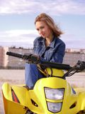 Dyakova Helen on quadrocycle. Stock Image