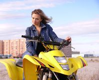 Dyakova Helen on quadrocycle. Stock Images