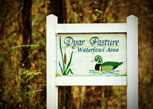 Dyar Pasture Waterfowl Refuge Sign. Dyar Pasture Wildlife Refuge Sign Stock Photo