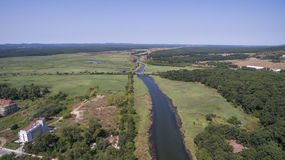 Dyavolska河和Stradzha蜜饯看法从上面 图库摄影