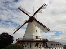 Dybboel Mill Danish National Monument with Cloudy Sky Stock Image