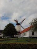 Dybboel Mill Danish National Monument with Cloudy Sky Royalty Free Stock Photos