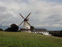 Dybboel Mill Danish National Monument with Cloudy Sky Royalty Free Stock Photo