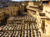 Dye reservoirs in tannery in Fes, Morocco, where the world famous moroccan leather is made royalty free stock images