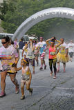 Dye Splattered Color Run Crowd At the Finish Stock Photos