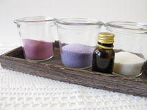 Dyed bath salts Stock Images