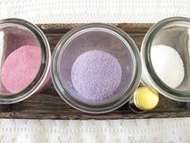 Dyed bath salts Stock Photography