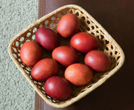 Dyed brown eggs chicken. Painted onion skin. Easter. In a basket royalty free stock photo