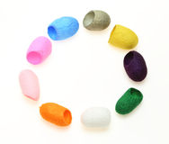 Dyed cocoons Royalty Free Stock Image