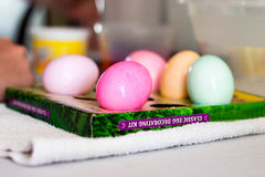 Dyed Easter Eggs. Sit drying on a table Stock Images