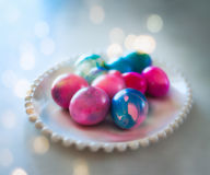 Dyed easter eggs. The egg, an ancient symbol of new life, has been associated with pagan festivals celebrating spring Royalty Free Stock Images