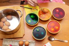 Dyed Easter eggs stock images