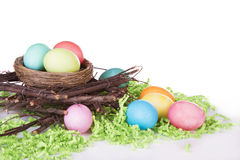 Dyed Easter eggs in a nest Stock Image