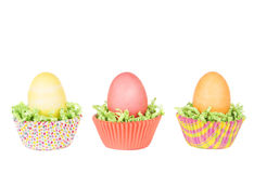 Dyed Easter eggs in a nest of green grass Stock Images