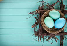 Dyed Easter eggs in a nest Royalty Free Stock Photos