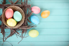 Dyed Easter eggs in a nest Royalty Free Stock Photo