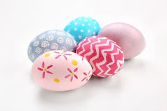 Dyed Easter eggs on white background royalty free stock photography