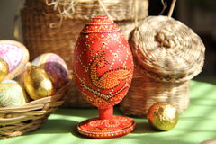 Dyed eggs handmade style of point to point. Painted eggs, decoration, exclusive design, Decoration chicken, chicken on a stick, rustic style, the Easter holiday Stock Photography