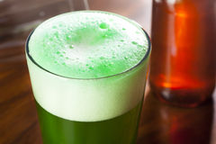 Dyed Green Beer for St. Patricks Day. Celebration Royalty Free Stock Photography