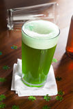 Dyed Green Beer for St. Patricks Day. Celebration Stock Photography