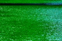 Dyed green Chicago River sparkling in direct sunlight. During St. Patrick`s Day celebration royalty free stock photography
