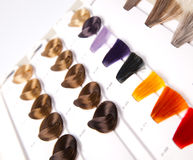 Dyed locks of hair Stock Photo