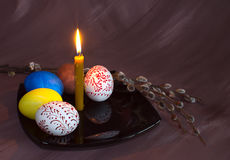 Dyed and painted eggs have Royalty Free Stock Photography