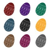 Dyed patterns egg for Easter. Easter single icon in black style vector symbol stock illustration. Stock Image