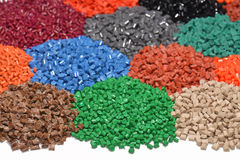 Dyed plastic granulate Stock Photos