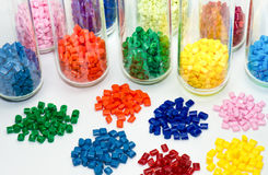 Dyed plastic resins in laboratory Royalty Free Stock Photography