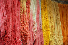 Dyed wool. View of different colors died wool Royalty Free Stock Images