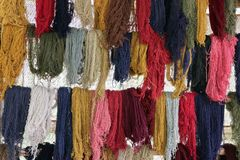 Dyed Wool Hanging. Llama and Alpaca wool just dyed and hanging to dry. Wool is dyed using natural minerals royalty free stock photos