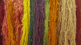 Dyed wool. Hanks of various colors of dyed wool Royalty Free Stock Photo