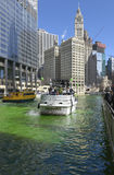 Dyeing Chicago River Green On Saint Patrics Day stock photography