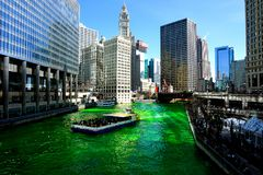 Dyeing of the Chicago river on Saint Patrick`s day. USA royalty free stock image