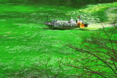 Dyeing the Chicago River on St. Patrick's day Stock Photo