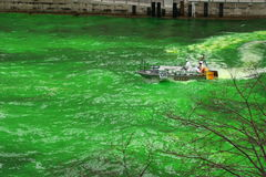 Dyeing the Chicago River on St. Patrick's day Royalty Free Stock Image