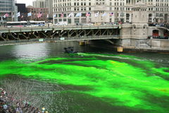 Dyeing the Chicago River on St. Patrick's day Royalty Free Stock Photo