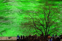 Dyeing the Chicago River on St. Patrick's day Royalty Free Stock Images