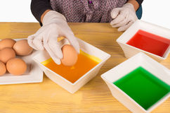 Dyeing Easter eggs Royalty Free Stock Image