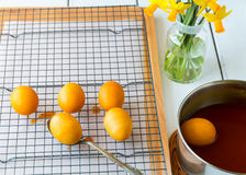 Dyeing Easter eggs natural way with turmeric for mustard - yello Royalty Free Stock Photos