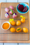 Dyeing Easter eggs natural way. Dyeing Easter eggs natural way with turmeric for mustard - yellow color and with beet for pink color Stock Photography