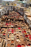 Dyeing in Fez. Workers tanning and dyeing in red hides in the vats of Fez tanneries, Morocco, Leather soaks in Fez stock photos