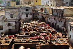 Dyeing in Fez, Morocco. Workers tanning and dyeing (painting skin) in red hides in the vats of Fez tanneries, Morocco, Leather soaks in Fez royalty free stock photo