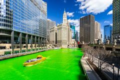 Dyeing River Chicago St` Partick Day. Chicago Skylines building along green dyeing river of Chicago River on St. Patrick`s day festival in Chicago Downtown IL stock image
