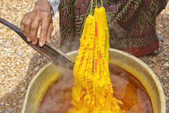 Dyeing silk. Using traditional natural materials Stock Image