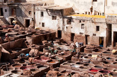 Dyeing in tanneries - Fez, Morocco Stock Photography